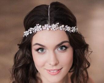 Bridal Hair Halo Chain Headpiece Headband Pearl and Crystal Wedding Headband Wedding Tiara Headband Bridal Diadem Bridal Wreath Wedding Vine