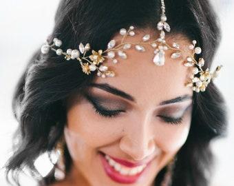 Crystal Decorated Bridal Hair Halo Wedding Headband Wedding Tiara Greek Headband Bridal Diadem Bridal Wreath Wedding Vine MOROCCO
