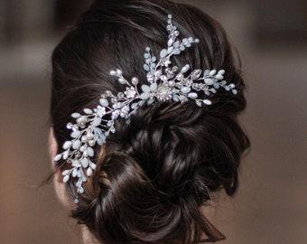 Crystal Hairpiece Opal Headpiece Wedding Hair Piece Bridal Hair Comb Bridal Rhinestone Pearl Hair Comb Braut Haarkamm Long Double Back Comb