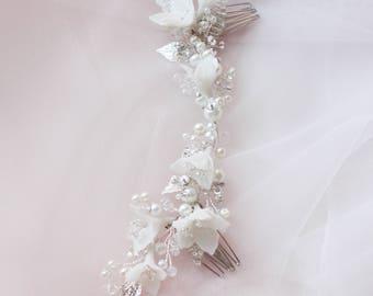Wedding Hair Comb Boho Rustic Bridal Hair Comb Porcelain Flower Headpiece Comb for Bride Bridal Headpiece Bridal Large Double Haarkamm