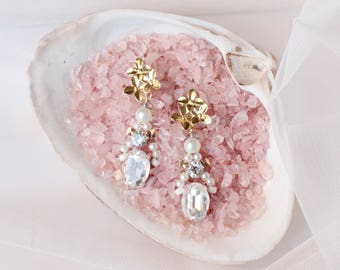Gold Flower Earrings with Rhinestones, Pearls and Crystals, Bridal Wedding Matching Headpiece Earrings Drop Chandelier Earrings