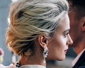 Statement Earrings Pearl Rhinestone Bridal Earrings Bridesmaid Earrings Matching Headpiece Earrings Crystal Opal Mother of Pearl Earrings