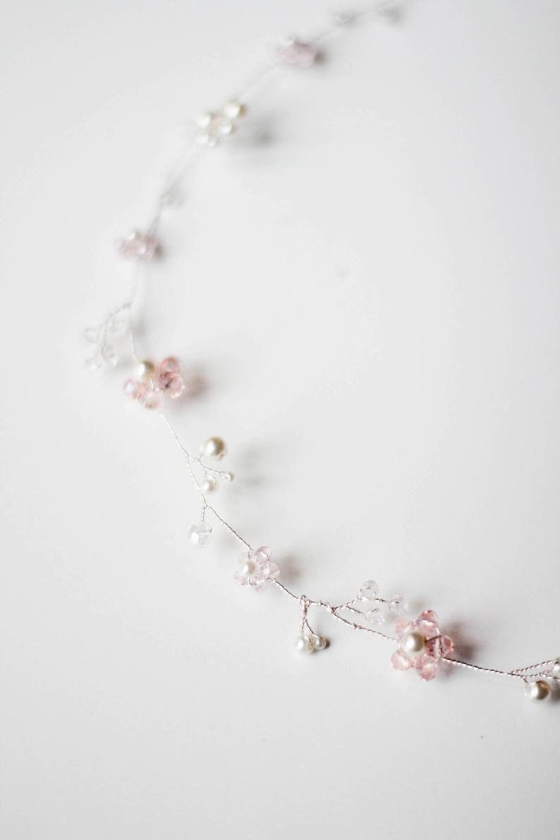 Crystal Hair Vine Bridal Vine Over Head Halo Vine with Floral and Crystal Bridal Wreath HV-170