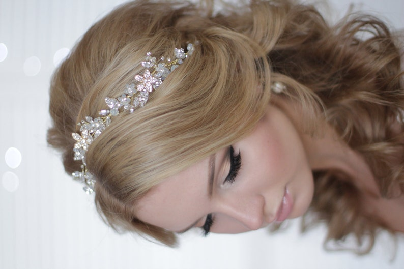 Bridal Tiara Bridal Hair Accessory Crystal Hair Vine Bridal HeadBand Wedding Headdress Bridal Diadem Bridal Wreath Bridal Hair Vine Over Top