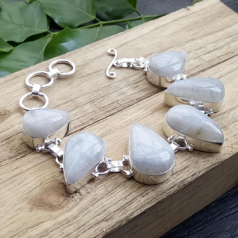 Rainbow Moonstone Bracelet Moonstone Jewelry AJB-0128 Pear Cabochon Stone Bracelet Indian White Stone Bracelet Bezel Set Bracelet