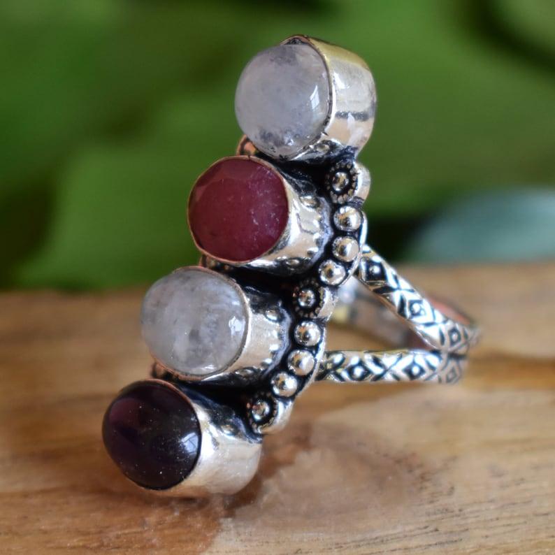 Moonstone Rainbow /& Ruby Corundum Ring AJR1367 Multi Stone Jewelry Amethyst Handcrafted Long Silver Vermeil Ring Bezel Setting Ring