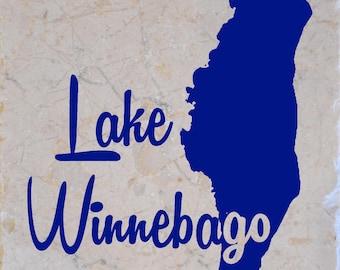 Lake Winnebago in Wisconsin Coasters set of 4