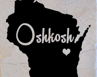 Oshkosh Wisconsin Coasters set of 4