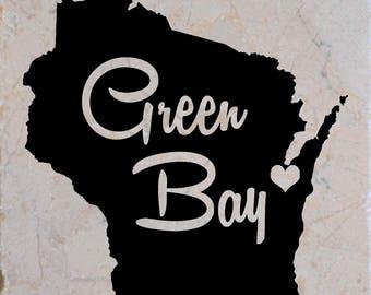 Green Bay Wisconsin Coasters set of 4