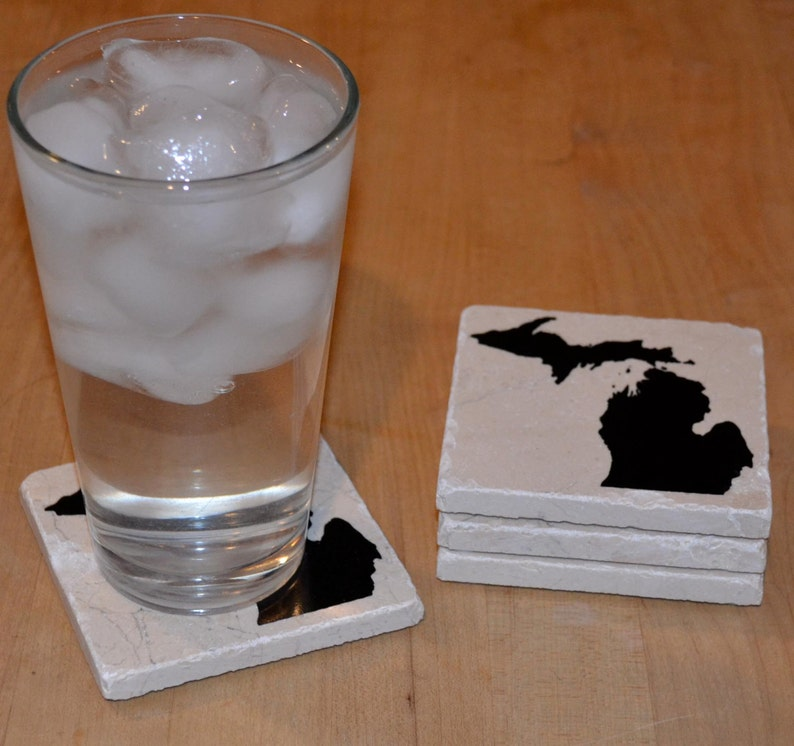 Man Cave Drink Barware Marble Stone Tile Wisconsin Gift Housewarming Gift Wisconsin Coasters Home Decor Wisconsin Decor
