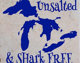 Great Lakes Unsalted & Shark Free Coasters set of 4