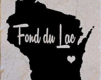 Fond du lac Wisconsin Coasters set of 4