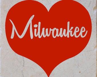 Milwaukee Red Heart Coasters set of 4
