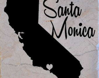 "Set of 4 ""Santa Monica California"" Coasters.  Free Shipping"