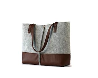 Leather tote bag, handmade bag,felt bag,felt & leather shoulder bag, tote, large tote bag, felt tote bag