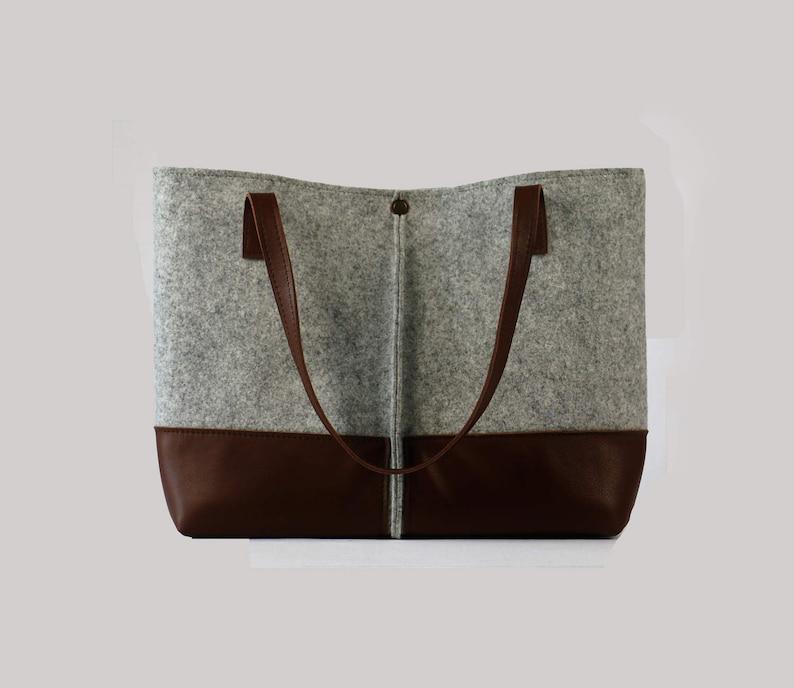 6ffc8e1fff2 Leather tote tas handgemaakte tas vilten tas vilt & lederen | Etsy