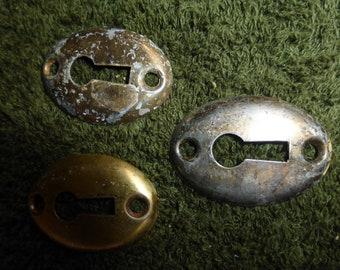 Three Brass Plated Oval Key Hole Escutcheons covers parts SET 3/1 P