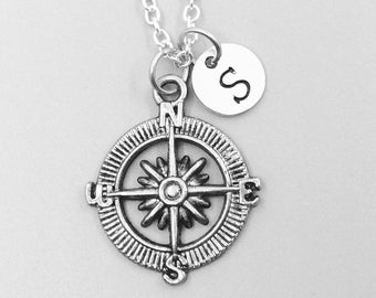 Compass necklace, personalized necklace, compass charm necklace, initial necklaces, compass charm, compass pendant, compass jewelry, compass
