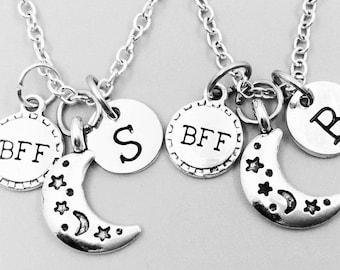 Best friend necklace, neckalce, personalized necklace, bff necklace,  charm necklace, initial necklaces, monogram