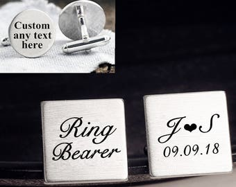Ring bearer cuff links, personalized engraved, engraved cufflinks, custom personalized cufflinks tie clip, engraved wedding cufflinks