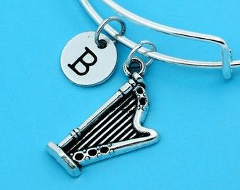 Harp Bangles, Harp Bracelets, Custom Any Charm, Personalized Bracelets, Charm Bangles, Harp Pendant, Initial bracelets, musical instrument