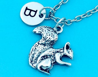 Squirrel necklace, squirrel charm necklace, personalized necklace, custom charm pendant, initial necklace, squirrel pendant, squirrel chain