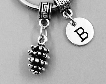 Pine cone Keychain, Pine cone Keychains, Best Friend Keychains, pine cone Keyring, pine cone Key Rings, Custom Charm Keychain, pinecone gift
