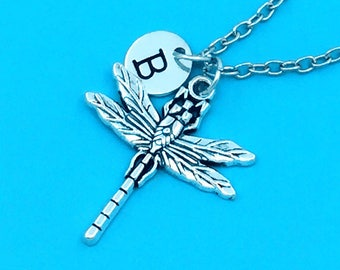 Dragonfly necklace, dragonfly charm necklace, personalized necklace, custom charm pendant, initial necklace, dragonfly pendant necklace gift