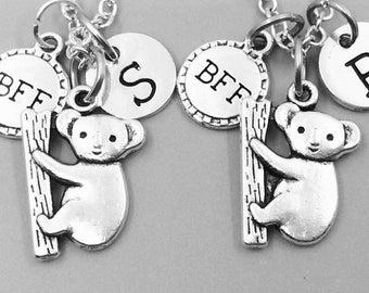Best friend necklace, koala neckalce, personalized necklace, bff necklace, koala charm necklace, initial necklaces, monogram, koala bear