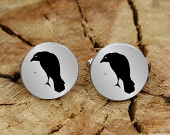 Engraved crow cuff links, engraved raven, engraved cufflinks, custom personalized birds cufflinks tie clip, engraved wedding cufflinks gift