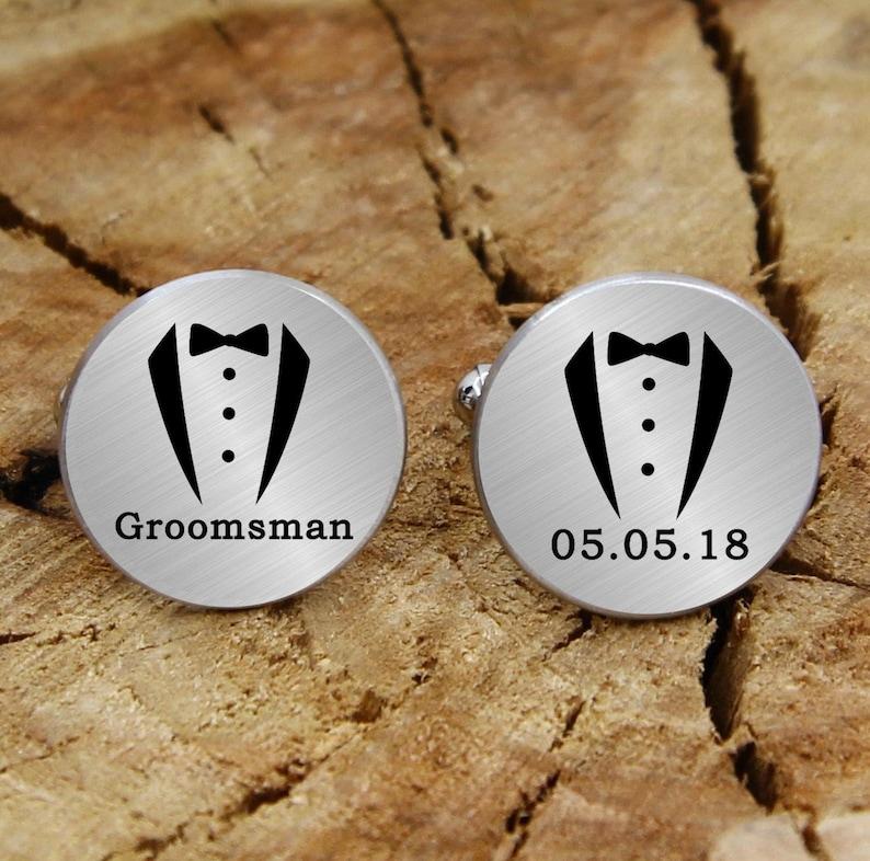 Engraved groomsman cuff links groomsman engraved cufflinks custom engraved tuxedo suit personalized cufflinks engraved wedding cufflinks