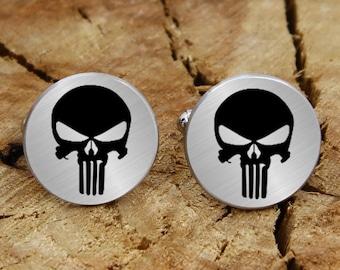 Engraved superhero cuff links, engraved skull, engraved cufflinks, custom personalized cufflinks tie clip set, engraved wedding cufflinks