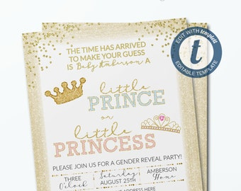 Gold Gender Reveal Invitation Template He Or She Invitation Etsy
