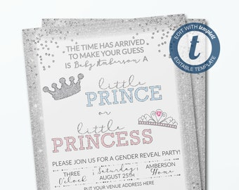 Gold Gender Reveal Invitation Template Prince Or Princess Etsy