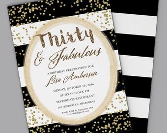 30th Birthday Invitation Dirty Thirty ANY AGE Digital Printable