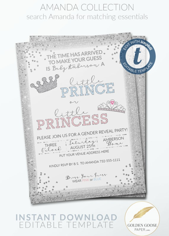 Silver Gender Reveal Invitation Template Prince Or Princess Etsy