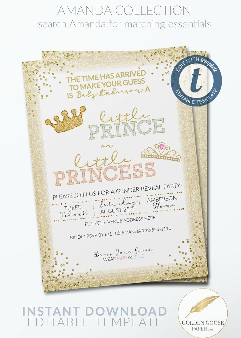 Gold Gender Reveal Invitation TEMPLATE