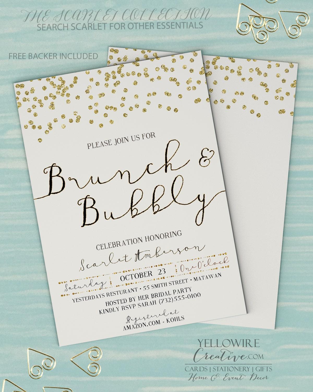 Brunch And Bubbly Invitation Bridal Brunch Invitation