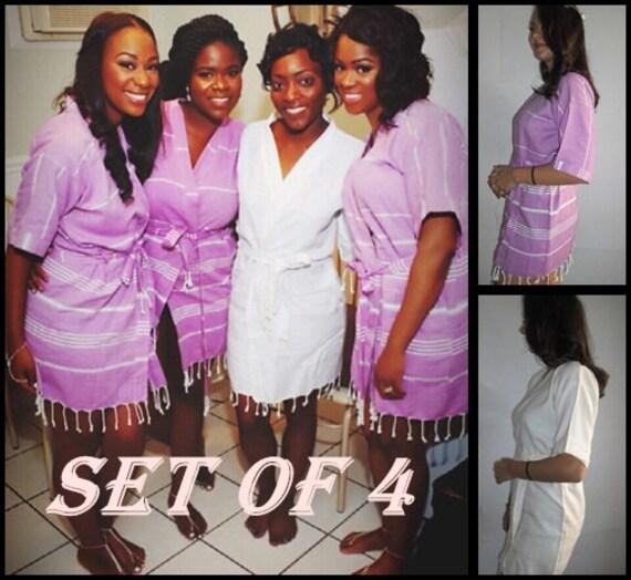 Cotton Bridesmaid robes Purple and white kimono robesturkish  ef6c337b2