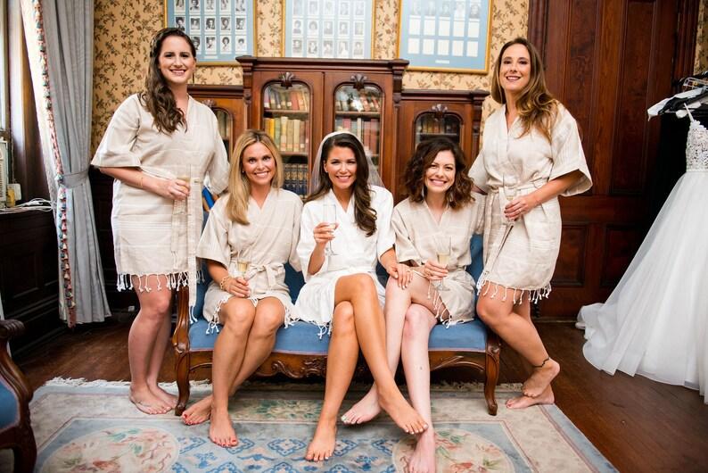 set f 3 bridesmaid robes  navy turkish kaftan kimono robe  wedding bridal party robe  bachelorette beach party robe