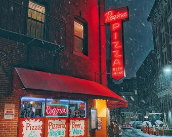 NEW! Regina Pizzeria North End in snow storm - The original and best pizza in Boston - Hanover Street Salem St. Boston Art - FREE SHIPPING!