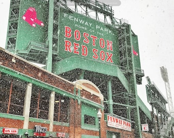 Snowy Fenway Park with Boston Red Sox sign along Lansdowne Street during Boston blizzard - FREE SHIPPING!
