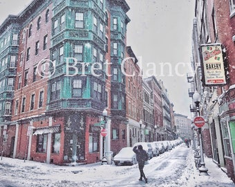 Bova's Bakery and Salem Street in Boston's historic North End during winter snow storm - FREE SHIPPING!