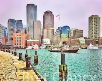 Fan Pier, Boston Harbor vintage sailboat glowing during a heavy rain storm - Boston Seaport and Boston city skyline - FREE SHIPPING!