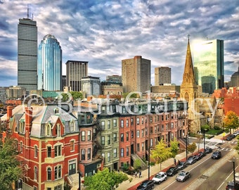 South End and Back Bay brownstones with crazy clouds Boston skyline view and Hancock Tower reflection - Prudential Center - FREE SHIPPING!