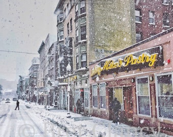 Mike's Pastry on Hanover Street, Boston - Iconic pastry shop in Boston's North End during winter blizzard snow storm - FREE SHIPPING!