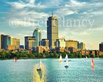 Marvelous Boston skyline sunset over Charles River and sailboats - Boston city skyline - FREE SHIPPING!