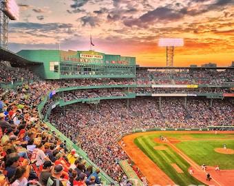 Classic Boston Red Sox summer sunset at Fenway Park Boston - Red Sox baseball - Boston sports - FREE SHIPPING!