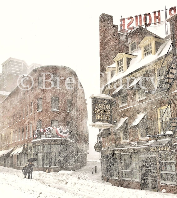 The oldest restaurant in America and the oldest bar in America - Bell in  Hand + Union Oyster House Boston in snow blizzard - FREE SHIPPING!