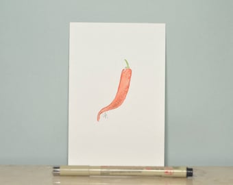 "One of a kind original watercolor red chilli pepper. Kitchen decor. Paper 100mm x 150mm / 5.9"" x 3.9"""